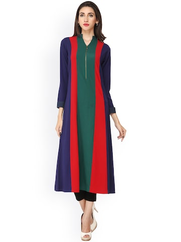 Soie Blue & Red Colourblocked Georgette A-Line Kurta at myntra
