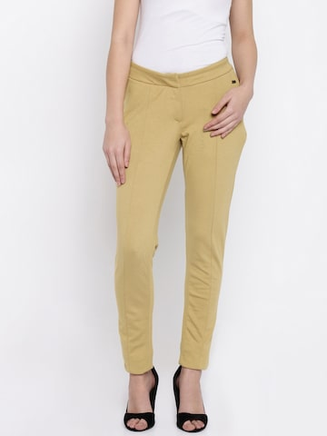 Park Avenue Women Mustard Yellow Trousers at myntra