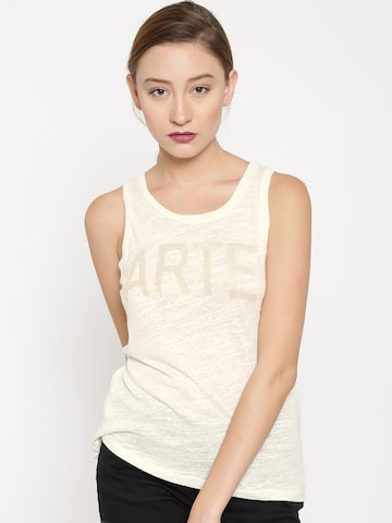MANGO Women Off-White Embellished Top at myntra