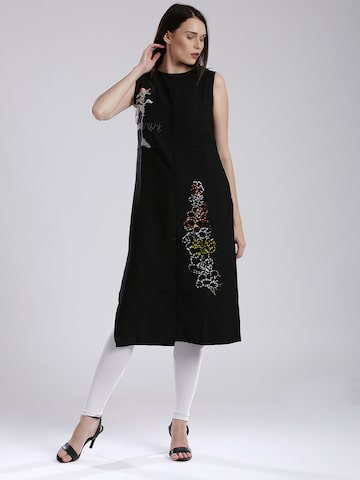 W Women Black Embroidered Detail Straight Kurta at myntra