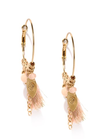 Rubans Gold-Toned & Pink Tasseled Hoop Earrings at myntra