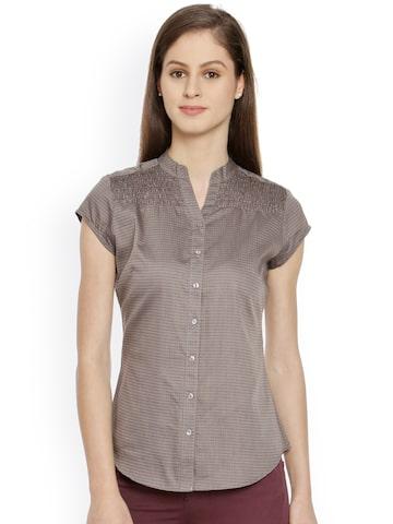 Bombay High Women Grey Checked Slim Fit Semiformal Shirt at myntra