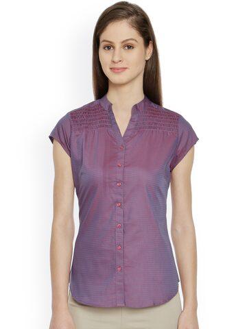 Bombay High Women Purple Checked Slim Fit Semiformal Shirt at myntra