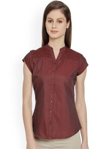 Bombay High Women Red Checked Slim Fit Semiformal Shirt at myntra