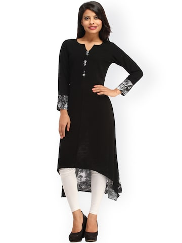 Cottinfab Women Black Solid Crepe High-Low Kurta at myntra