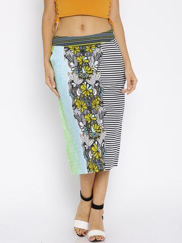 Global Desi Blue Floral Print Pencil Skirt at myntra