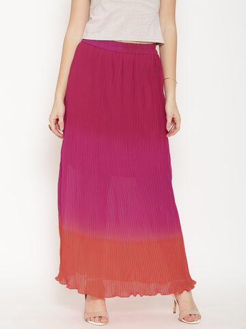 Global Desi Pink & Orange Ombre-Dyed Accordion Pleat Maxi Skirt at myntra