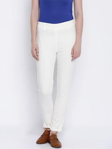 Global Desi Women White Trousers at myntra