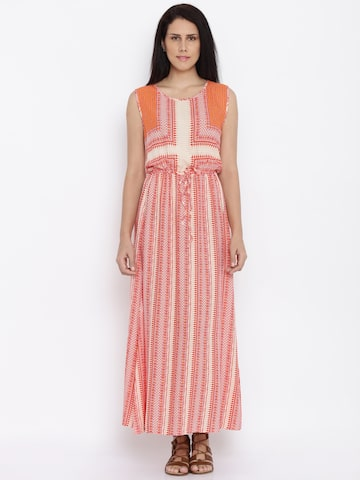 Global Desi Women Coral Printed Maxi Dress at myntra
