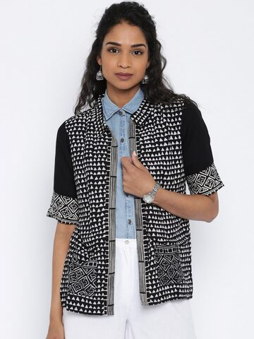 Global Desi Black & Off-White Printed Shrug at myntra