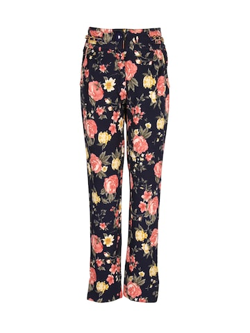 CUTECUMBER Girls Navy Blue Printed Flat-Front Trousers at myntra