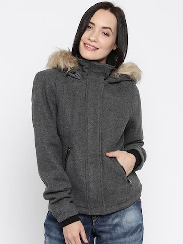 Vera Moda Grey Jacket with Detachable Hood at myntra