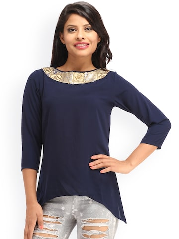 Cottinfab Women Blue Solid Top at myntra