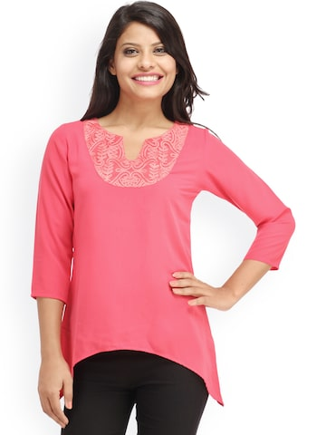 Cottinfab Women Pink Solid Regular Top at myntra