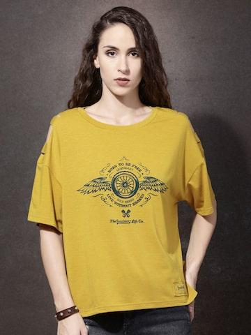 Roadster Women Mustard Yellow Printed Round Neck Boxy T-shirt at myntra