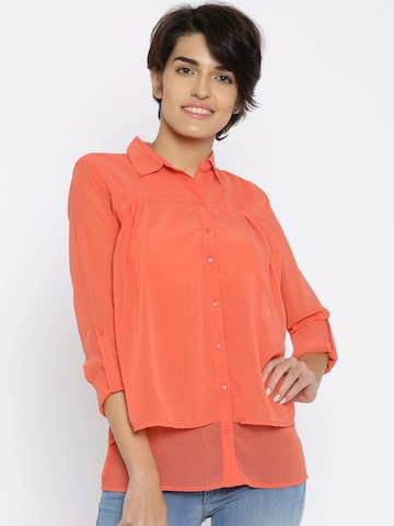 Jealous 21 Women Coral Red Solid Shirt at myntra