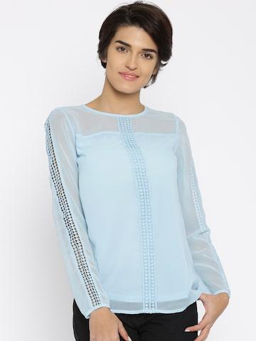 Jealous 21 Women Blue Lace Regular Top at myntra