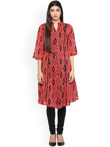 Ayaany Women Red Printed Georgette A-Line Kurta at myntra