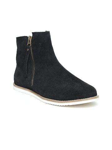 Carlton London Women Black Perforations Leather Mid-Top Flat Boots Carlton London Casual Shoes at myntra
