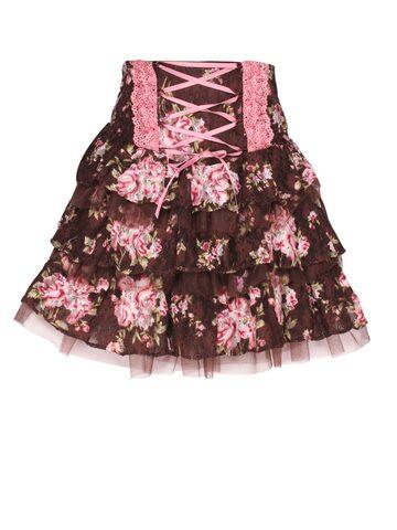 CUTECUMBER Girls Brown Floral Print Tiered Skirt at myntra