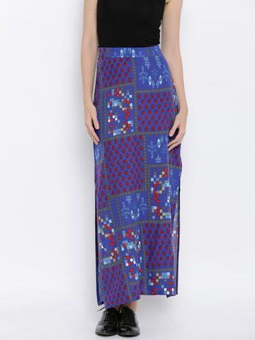 Global Desi Blue Printed Maxi Skirt at myntra