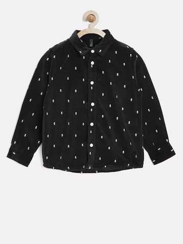 United Colors of Benetton Boys Black Regular Fit Printed Casual Shirt at myntra