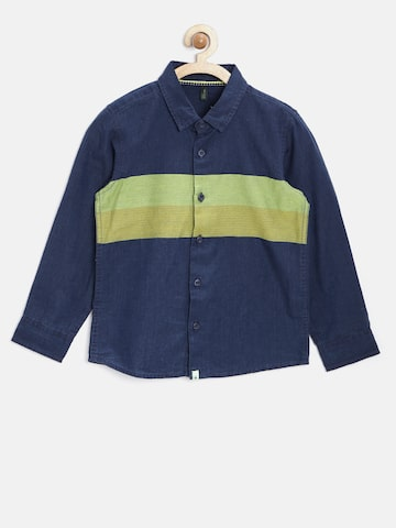 United Colors of Benetton Boys Navy & Green Colourblocked Casual Shirt at myntra