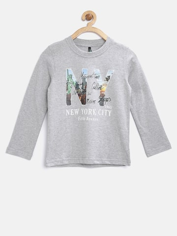 United Colors of Benetton Boys Grey Melange Printed Round Neck T-Shirt at myntra