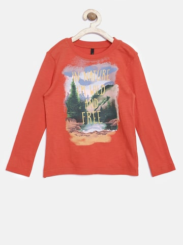United Colors of Benetton Boys Orange Printed Round Neck T-Shirt at myntra