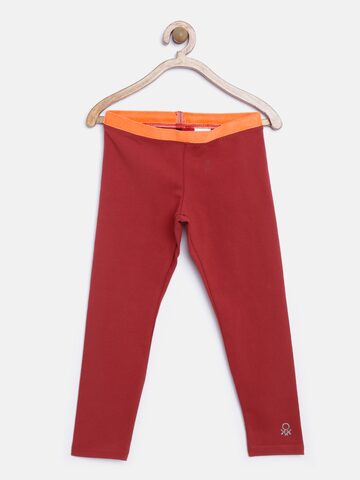 United Colors of Benetton Girls Maroon Leggings at myntra