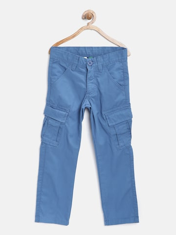 United Colors of Benetton Boys Blue Solid Cargos at myntra