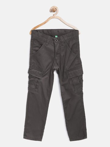 United Colors of Benetton Boys Coffee Brown Solid Cargos at myntra