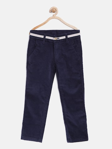 United Colors of Benetton Boys Navy Corduroy Flat-Front Trousers at myntra