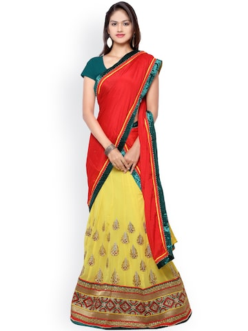 Touch Trends Green & Yellow Embroidered Georgette Semi-Stitched Lehenga Choli with Dupatta at myntra