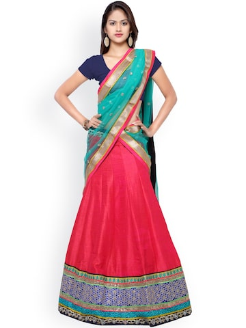 Touch Trends Navy & Pink Embroidered Art Silk Semi-Stitched Lehenga Choli with Dupatta at myntra