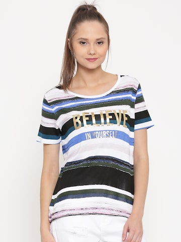 United Colors of Benetton Women White Striped Round Neck T-Shirt at myntra