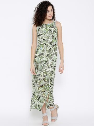 Latin Quarters Women Green Printed Maxi Dress at myntra