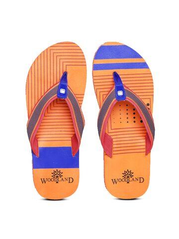 Woodland ProPlanet Men Blue & Orange Printed Flip-Flops at myntra