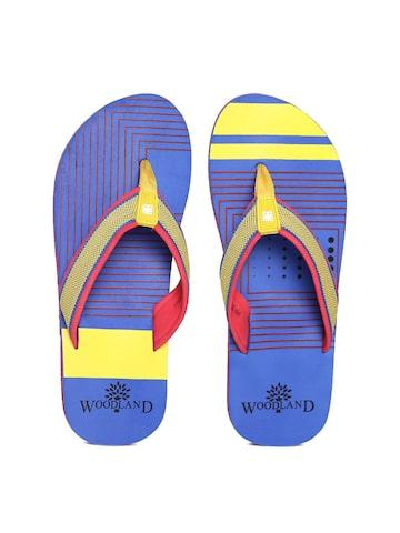 Woodland ProPlanet Men Yellow & Blue Printed Flip-Flops at myntra
