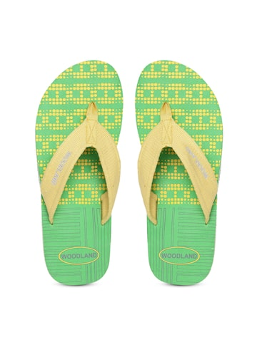 Woodland ProPlanet Men Yellow & Green Printed Flip-Flops at myntra