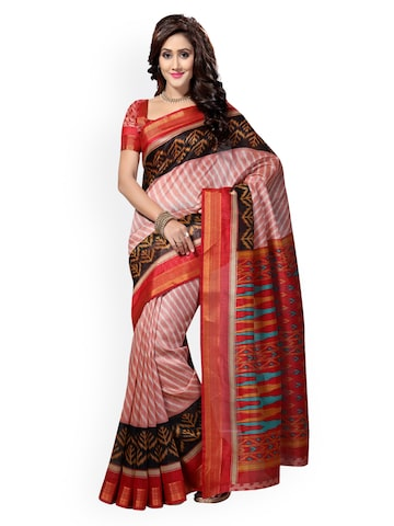 Saree Swarg Peach-Coloured & White Cotton Printed Saree at myntra