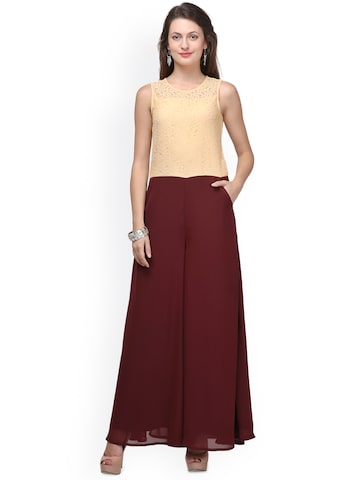 Eavan Beige & Maroon Jumpsuit with Lace Detail at myntra