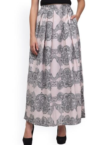 Eavan Cream-Coloured & Black Printed Flared Maxi Skirt at myntra