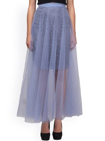 Eavan Grey Sheer Flared Lace Maxi Skirt at myntra
