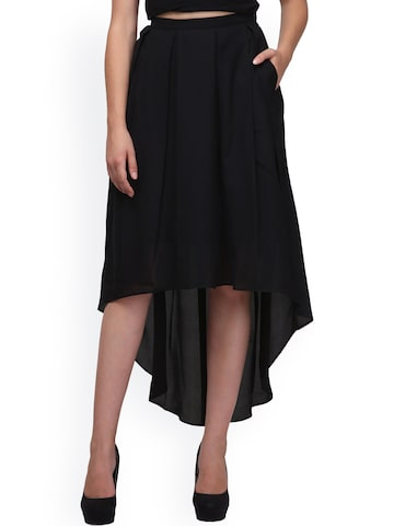 Eavan Black High-Low Skirt at myntra