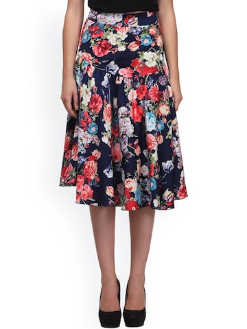 Eavan Multicoloured Floral Print Flared Midi Skirt at myntra