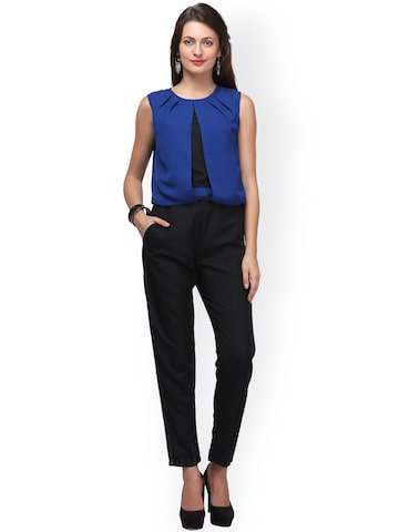 Eavan Blue & Black Crepe Jumpsuit at myntra