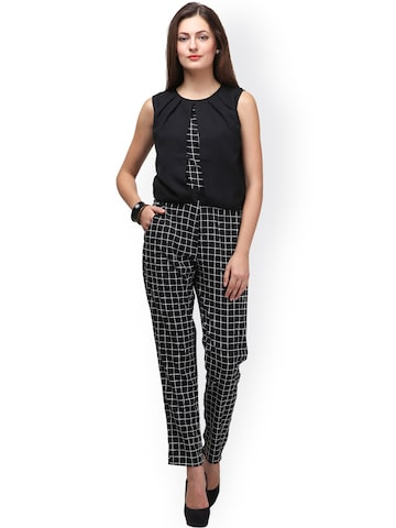 Eavan Black Checked Crepe Jumpsuit at myntra