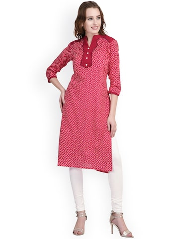 Indi Dori Women Pink Printed Straight Kurta at myntra