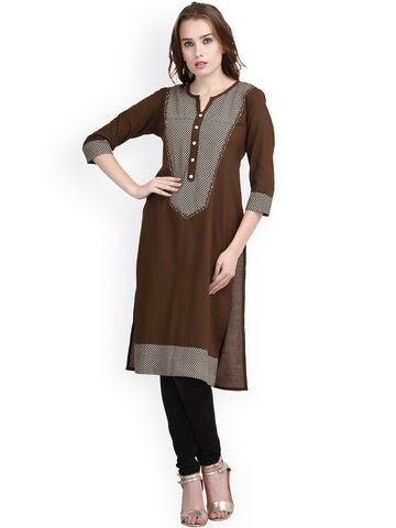 Indi Dori Women Brown Solid Straight Kurta at myntra
